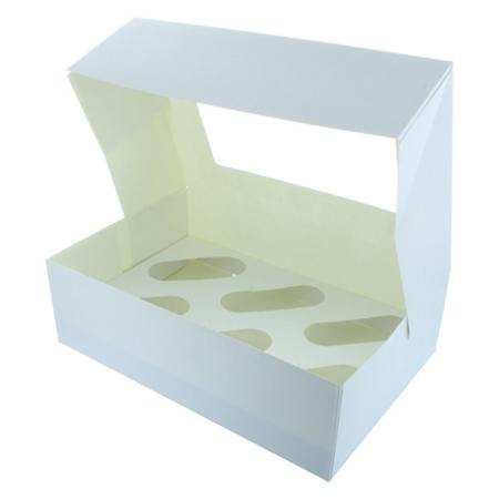 Białe pudełko z okienkiem na 6 muffinek