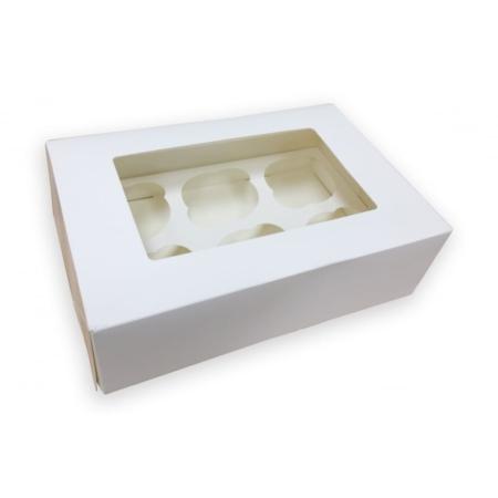 Pudełko na 6 muffinek, babeczek, cupcake - Białe