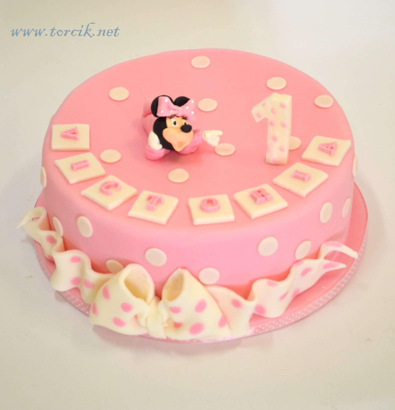 Roczek Tort Dziewczynka Tort Minnie Na Pierwsze Urodziny Torciknet