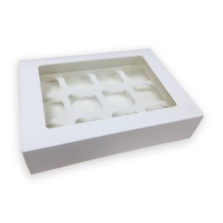 Pudełko na 12 muffinek, babeczek, cupcake z okienkiem - Białe