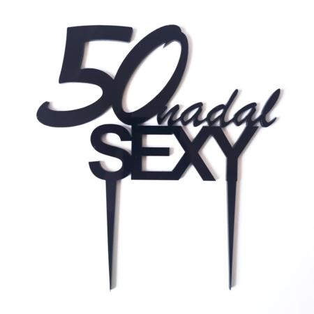 Topper na tort - Miniowe Formy - 50 Nadal SEXY - 15 x 18 cm Czarny