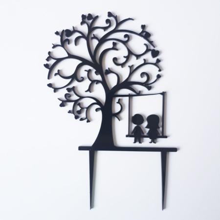 Topper na tort - Miniowe Formy - Drzewo + Huśtawka - 15 cm Czarny