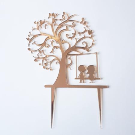 Topper na tort - Miniowe Formy - Drzewo + Huśtawka - 15 cm Złoty