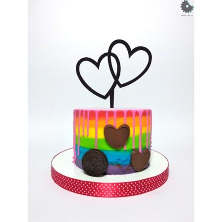 Topper na tort - Miniowe Formy - Dwa Serca - 13 cm Czarny