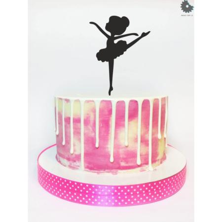 Topper na tort – Miniowe Formy – Dziewczynka Baletnica 1 15 cm Czarny
