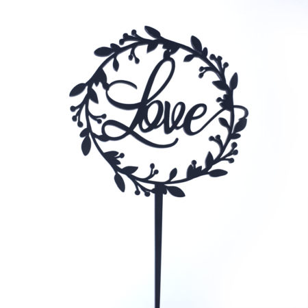 Topper na tort - Miniowe Formy - Love w Rustykalnym Wianku - 15 cm Czarny