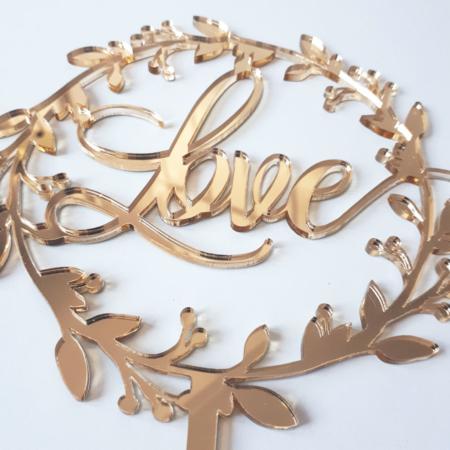 Topper na tort - Miniowe Formy - Love w Rustykalnym Wianku - 15 cm Złoty