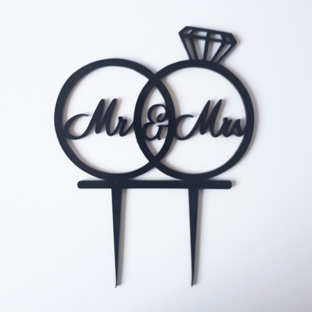 Topper na tort - Miniowe Formy - Mr&Mrs Obrączki - 15 cm Czarny
