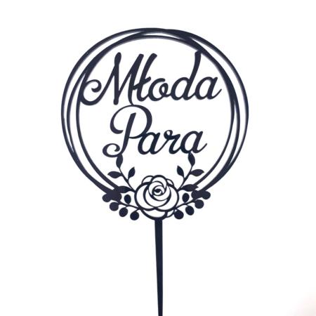 Topper na tort - Miniowe Formy - Młoda Para - Napis w Różanym Wianku - 12 cm Czarny