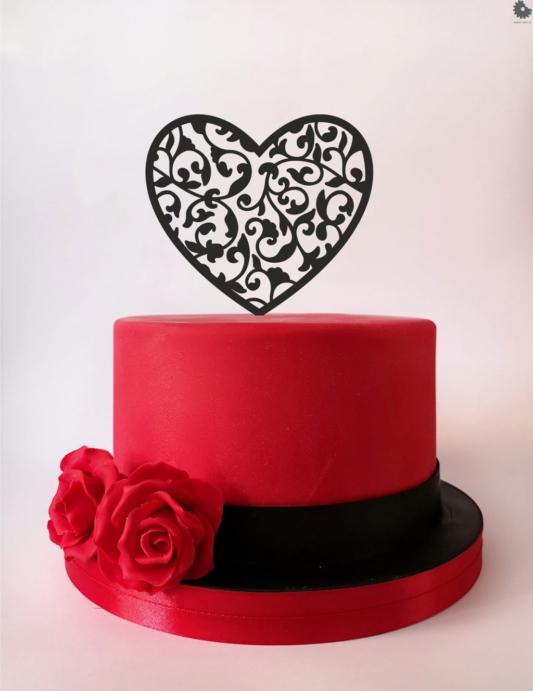 Topper na tort - Miniowe Formy - Serce Ozdobne - 12 cm Czarny