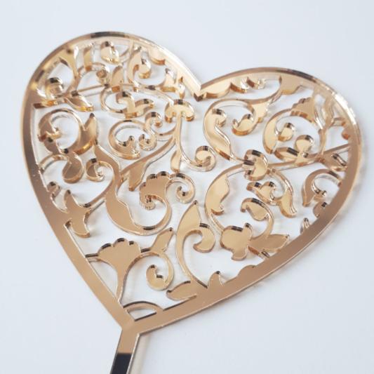 Topper na tort - Miniowe Formy - Serce Ozdobne - 12 cm Złoty