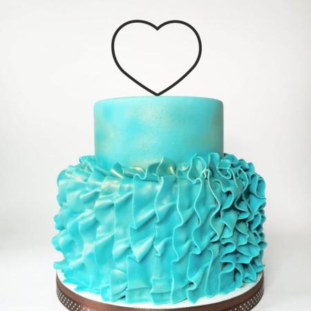 Topper na tort - Miniowe Formy - Serce - Wianek, Obręcz - 12 cm Czarny