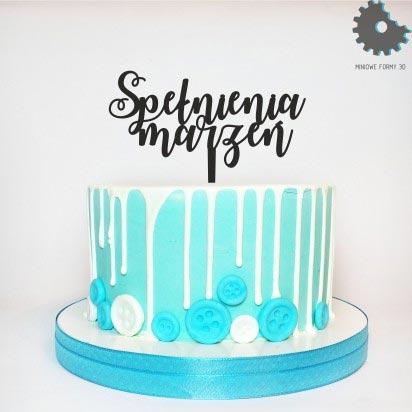 Topper na tort - Miniowe Formy - Spełnienia Marzeń - Czarny