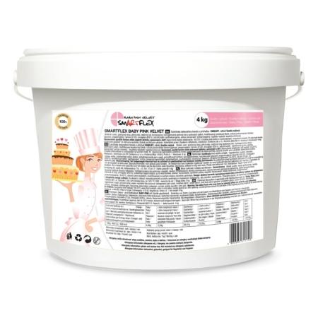 Masa cukrowa/lukier plastyczny Smartflex Velvet - Baby Pink/jasnoróżowa - 4 kg- smak waniliowy