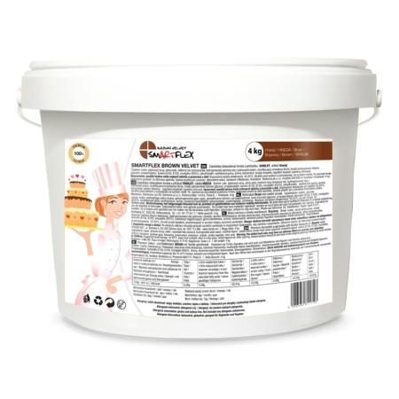 Masa cukrowa/lukier plastyczny Smartflex Velvet - brązowa - 4 kg- smak waniliowy