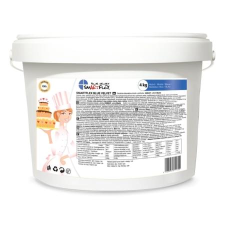 Masa cukrowa/lukier plastyczny Smartflex Velvet - niebieska - 4 kg- smak waniliowy