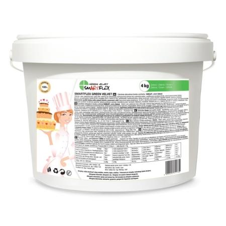 Masa cukrowa/lukier plastyczny Smartflex Velvet - zielona - 4 kg- smak waniliowy