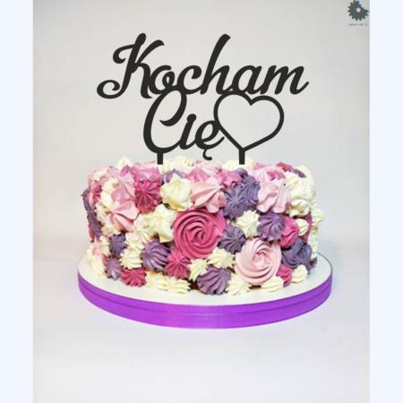 Topper na tort - Miniowe Formy - Kocham Cię z Serduszkiem - 17 cm Czarny