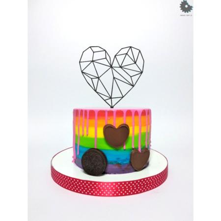 Topper na tort - Serce Siatka - 15 cm Czarne