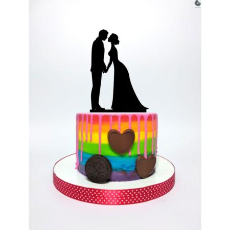 Topper na tort - Ślubna Para - Elegancka - 15 cm Czarny