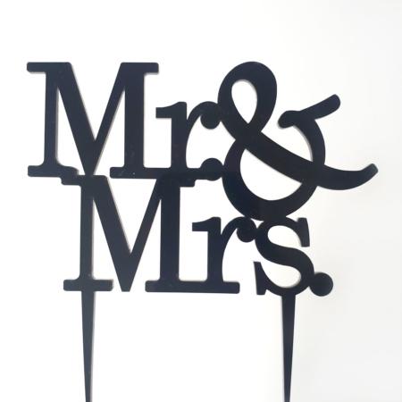 Topper na tort - Miniowe Formy - Mr&Mrs Standard - 12 x 8 cm Czarny