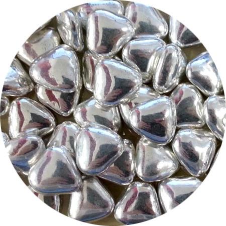 Czekoladowe serca, serduszka srebrne błyszczące (50 g)