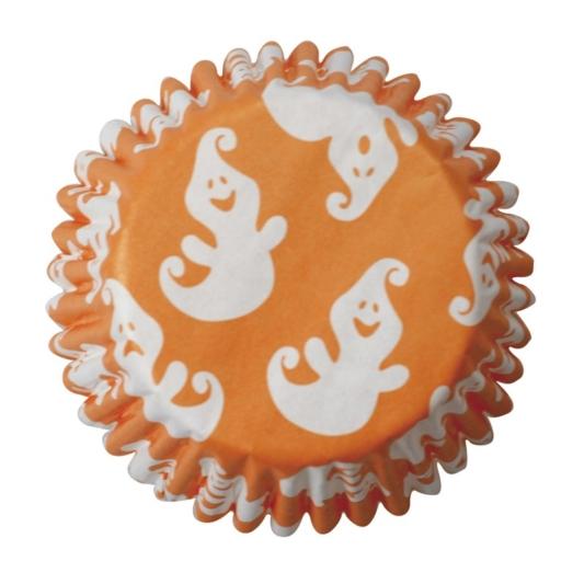 Papilotki na Halloween, Pomarańczowe z Białymi Duchami - 54 szt.