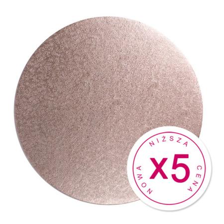 """Zestaw podkładów pod tort - okrągłe różowe złoto 25,4 cm (10"""") grubość 1,3 cm x 5 szt."""