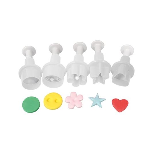Zestaw mini wykrawaczek z tłoczkiem Cake Star - Koło, Guzik, Kwiatek, Gwiazdka, Serce