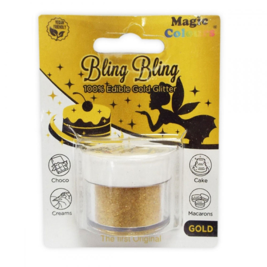 Jadalny Złoty Brokat w proszku Magic Colours Bling Bling Gold (10 ml)