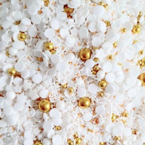Cukrowa Posypka Biało Złote Święta (mix - gwiazdki, perełki w różnych rozmiarach i kolorach, maczki, confetti i inne) - 50 g