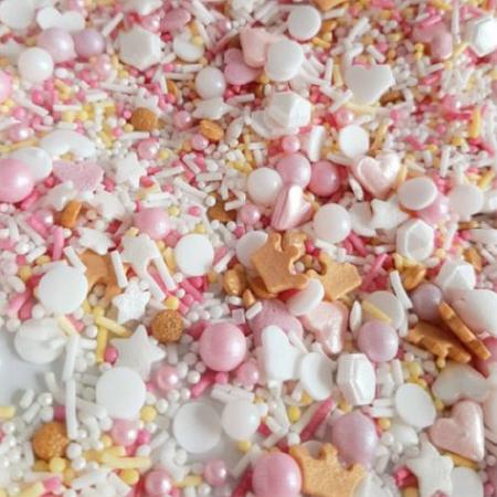 Cukrowa Posypka Princess (mix - serduszka, gwiazdki, perły, korony, confetti i inne) - 50 g