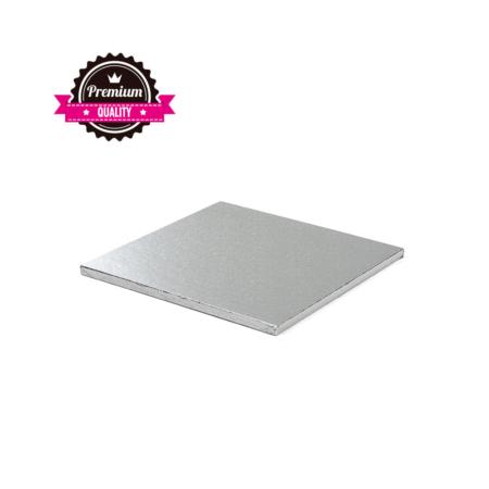Podkład pod tort kwadratowy sztywny, gruby, wytrzymały - Srebrny - 25x25 cm, grubość: 1,2 cm - Decora