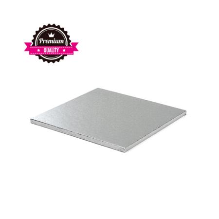Podkład pod tort kwadratowy sztywny, gruby, wytrzymały - Srebrny - 30x30 cm, grubość: 1,2 cm - Decora