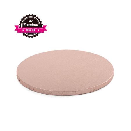 Podkład pod tort okrągły sztywny, gruby, wytrzymały - Różowe Złoto - średnica: 25 cm, grubość: 1,2 cm - Decora