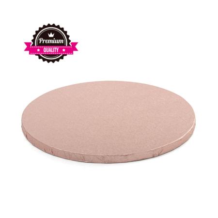 Podkład pod tort okrągły sztywny, gruby, wytrzymały - Różowe Złoto - średnica: 30 cm, grubość: 1,2 cm - Decora