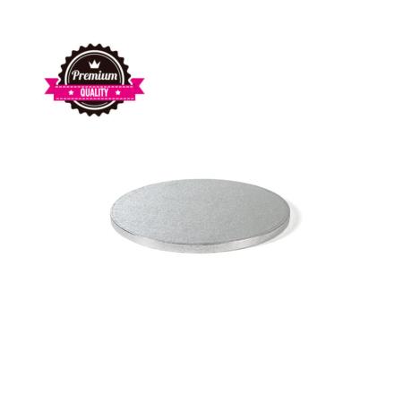 Podkład pod tort okrągły sztywny, gruby, wytrzymały - Srebrny - średnica: 20 cm, grubość: 1,2 cm - Decora
