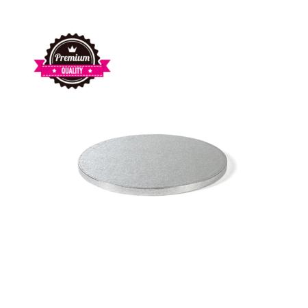 Podkład pod tort okrągły sztywny, gruby, wytrzymały - Srebrny - średnica: 25 cm, grubość: 1,2 cm - Decora