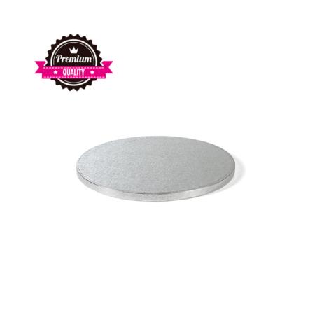 Podkład pod tort okrągły sztywny, gruby, wytrzymały - Srebrny - średnica: 28 cm, grubość: 1,2 cm - Decora