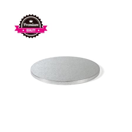 Podkład pod tort okrągły sztywny, gruby, wytrzymały - Srebrny - średnica: 30 cm, grubość: 1,2 cm - Decora