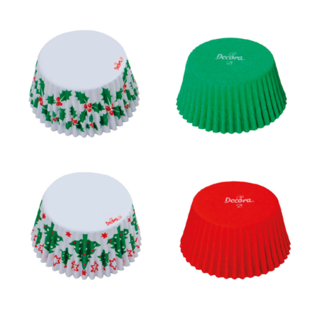 Papilotki Boże Narodzenie (Zielone, Czerwone, Choinki i Ostrokrzew)- zestaw 75 szt. - Decora