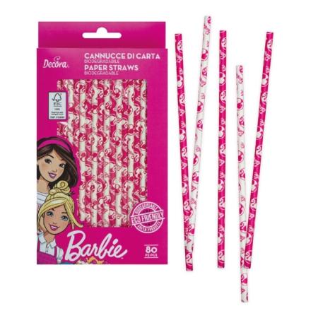 Słomki Papierowe Barbie - Decora - 80 szt.