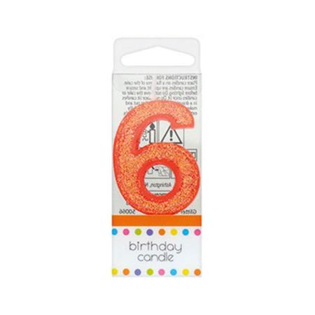 Świeczka Urodzinowa Pomarańczowa z Brokatem - Cyfra 6