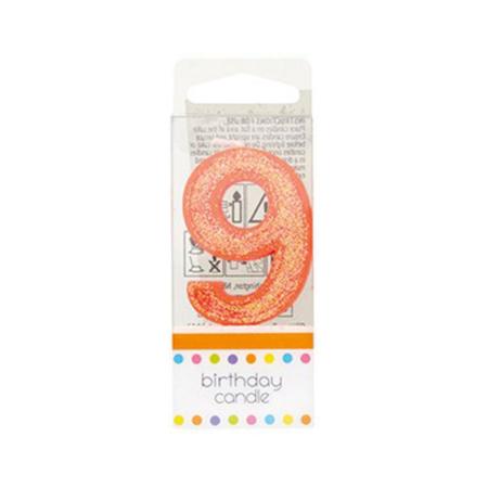Świeczka Urodzinowa Pomarańczowa z Brokatem - Cyfra 9