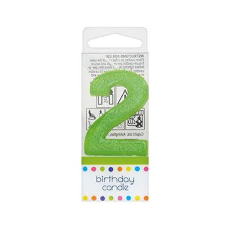 Świeczka Urodzinowa Zielona z Brokatem - Cyfra 2