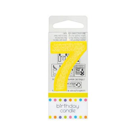 Świeczka Urodzinowa Żółta z Brokatem - Cyfra 7