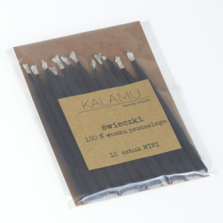 Naturalne Ekologiczne Świeczki z wosku pszczelego – Czarne Mini – 12 szt. - Kalamu