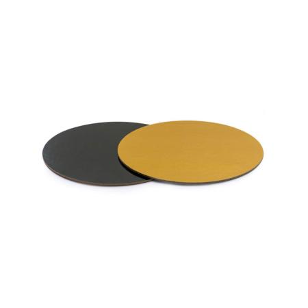 Podkład pod tort prostokątny sztywny, cienki, wytrzymały - Czarno-Złoty Ø 24 cm, grubość 0,3 cm Decora