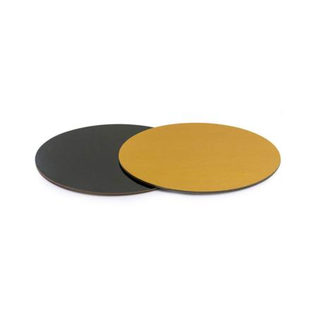 Podkład pod tort prostokątny sztywny, cienki, wytrzymały - Czarno-Złoty Ø 28 cm, grubość 0,3 cm Decora