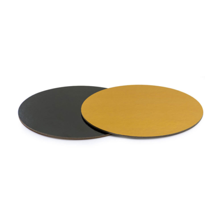 Podkład pod tort prostokątny sztywny, cienki, wytrzymały - Czarno-Złoty Ø 32 cm, grubość 0,3 cm Decora